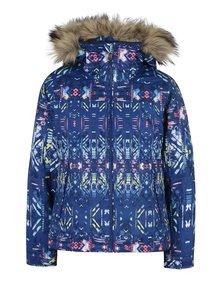 Modrá dievčenská funkčná vzorovaná bunda s kožúškom Roxy Jet Ski Girl