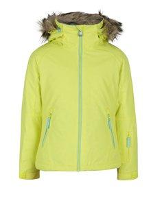 Neónovo žltá dievčenská vodovzdorná bunda s kožúškom Roxy Jet Ski Girl