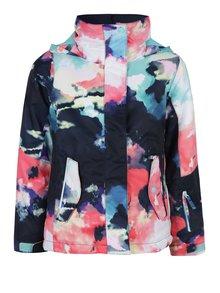 Ružovo-modrá dievčenská vzorovaná vodovzdorná bunda s kapucňou Roxy Jet Girl