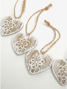Sada šesti kusů závěsné dekorace ve tvaru srdce v bílé barvě Dakls