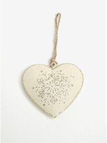 Súprava dvoch kusov závesnej kovovej dekorácie v tvare srdca v krémovej farbe Dakls