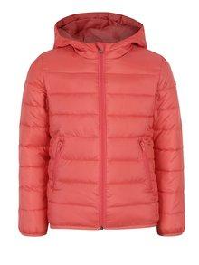 Ružová dievčenská vodovzdorná prešívaná bunda s kapucňou Roxy Question