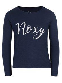 Tmavomodré dievčenské melírované tričko s potlačou Roxy Gradual