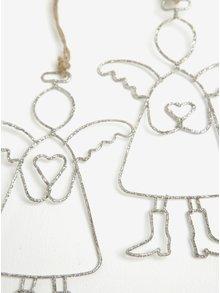 Set dvou kusů závěsné dekorace ve tvaru anděla se srdcem se třpytkami Dakls