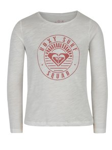 Krémové dievčenské melírované tričko s potlačou Roxy Gradual