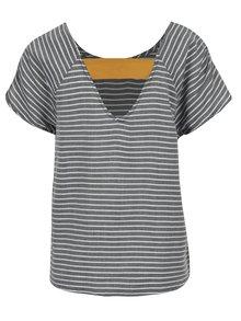 Bílo-šedé dámské pruhované tričko s detailem na zádech Roxy Gypsy Path