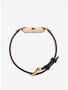 Ceas roz-auriu cu curea neagra din piele pentru femei - MOCKBERG Sigrid petite