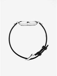 Dámské hodinky ve stříbrné barvě s černým koženým páskem MOCKBERG Astrid petite