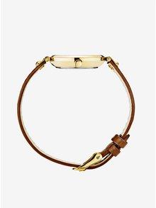 Ceas auriu cu curea maro din piele naturala pentru femei - MOCKBERG Ilse petite