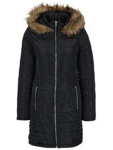 Čierny prešívaný kabát s umelou kožušinou VERO MODA Fast
