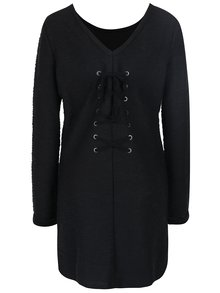 Čierne vzorované dámske šaty so šnurovaním na chrbte Roxy Oceanic