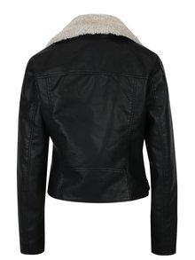 Čierna koženková bunda s umelým kožúškom VERO MODA Sofia