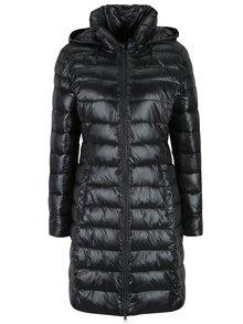 Tmavosivý prešívaný kabát s kapucňou Yest
