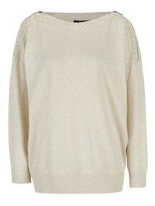 Krémový sveter so zipsmi na rukávoch Yest