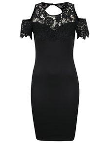 Čierne puzdrové šaty s prestrihmi na ramenách AX Paris