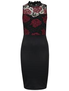 Vínovo-černé pouzdrové šaty s krajkou AX Paris