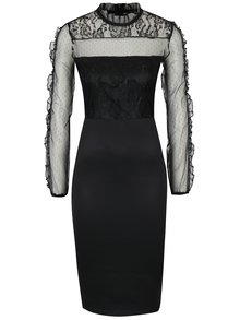 Čierne puzdrové šaty s čipkovaným topom AX Paris