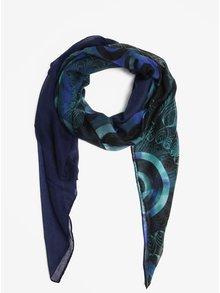 Tmavě modrý vzorovaný šátek Desigual Enrien