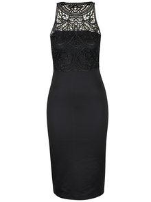 Černé pouzdrové šaty s aplikací na topu AX Paris