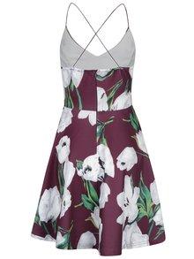Fialové kvetované šaty s tenkými ramienkami AX Paris
