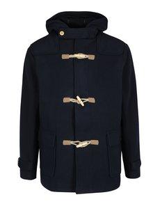 Tmavě modrý pánský vlněný kabát s kapucí Makia Duffle