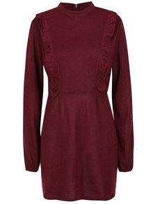 Vínové šaty s dlhým rukávom AX Paris