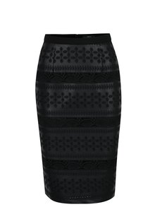 Černá vzorovaná sukně s koženkovými a krajkovými detaily NISSA