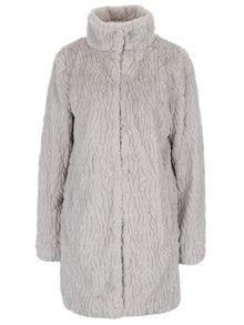 Svetlosivý kabát z umelej kožušiny s vreckami Dorothy Perkins