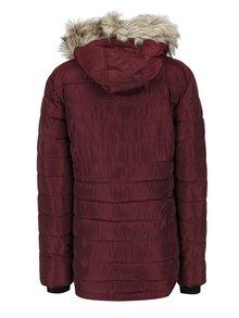 Vínová prešívaná bunda s umelým kožúškom Dorothy Perkins