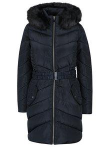 Tmavomodrý prešívaný kabát s umelým kožúškom Dorothy Perkins