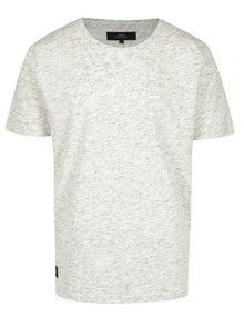 Krémové pánské žíhané tričko s krátkým rukávem Makia Frost