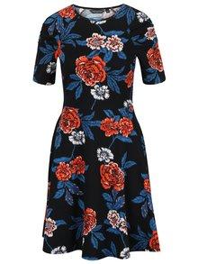 Černé květované šaty s řasením na rukávech Dorothy Perkins