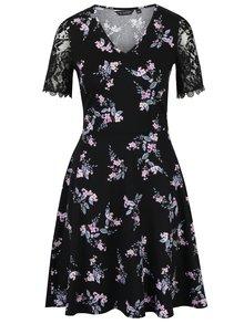 Černé květované šaty s krajkovými rukávy Dorothy Perkins
