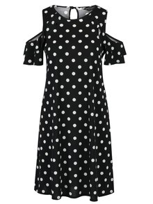 Černé puntíkované šaty s průstřihy na ramenou Dorothy Perkins