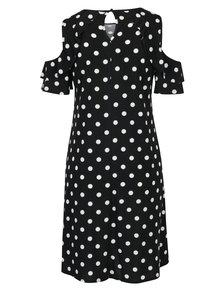Čierne bodkované šaty s prestrihmi na ramenách Dorothy Perkins