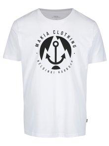 Bílé pánské tričko s krátkým rukávem a potiskem Makia Harbour