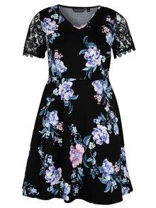 Čierne kvetované šaty s čipkovými rukávmi Dorothy Perkins Curve