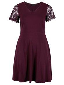Vínové šaty s čipkovými rukávmi Dorothy Perkins Curve