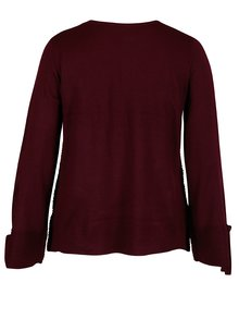 Pulover bordo cu maneci largi si dungi in relief Dorothy Perkins Curve