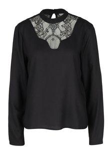 Bluza neagra cu aplicatie de dantela VILA Agnia