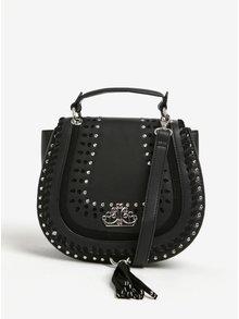 Čierna crossbody kabelka s detailmi v striebornej farbe Fornarina Jasmine