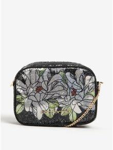 Geanta crossbody neagra cu paiete si model floral  Fornarina Clio