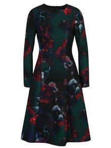 Tmavě zelené květované áčkové šaty NISSA