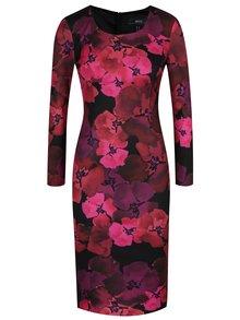 Černo-růžové květované pouzdrové šaty NISSA