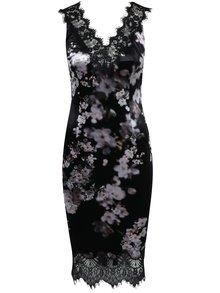 Černé květované šaty s krajkovými ramínky NISSA