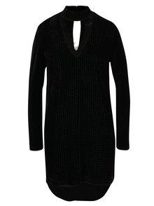 Černé třpytivé sametové šaty s chokerem  NISSA