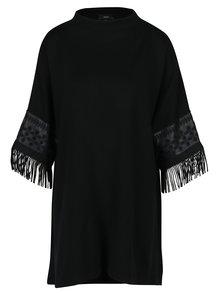 Černé volné svetrové šaty s třásněmi NISSA