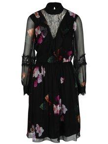 Černé květované šaty s průsvitnými rukávy NISSA