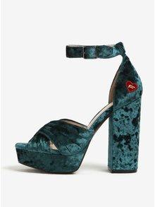 Zelené sametové sandálky na podpatku Fornarina Margot