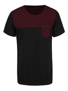 Tricou negru&bordo cu buzunar Casual Friday by Blend